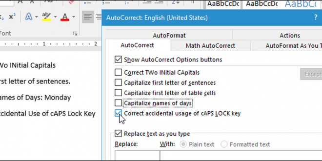 how to disable automatic capitalization correction in microsoft word